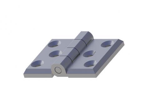 MY6076.1.2.6 Петля накладная 60*76, металл, хром, 6 отверстий под винт М8