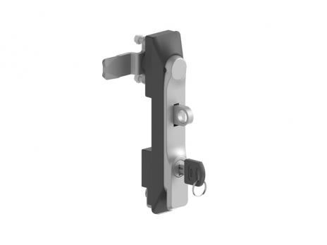 KI35.2.DD.CC Замок панельный полиамидный с металлической ручкой (хром) и ключом и ушком для навесного замка
