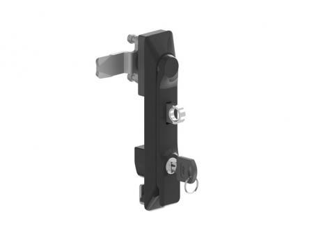 KI35.5.DD.CC Замок панельный полиамидный с металлической ручкой (черная), ключом и ушком для навесного замка